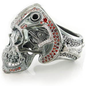 Steampunk Skull Ring Back